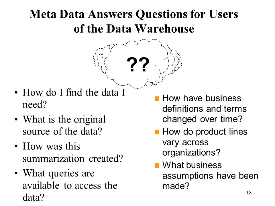 18 Meta Data Answers Questions for Users of the Data Warehouse How do I find the data I need? What is the original source of the data? How was this su