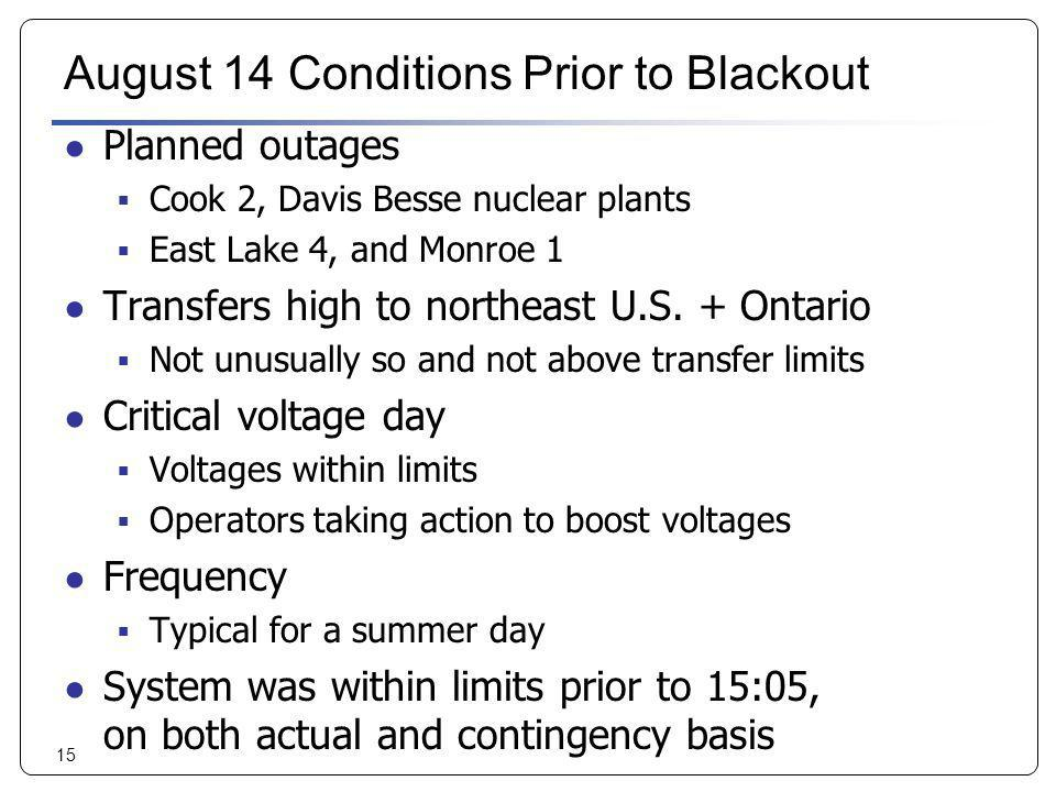 15 August 14 Conditions Prior to Blackout Planned outages Cook 2, Davis Besse nuclear plants East Lake 4, and Monroe 1 Transfers high to northeast U.S