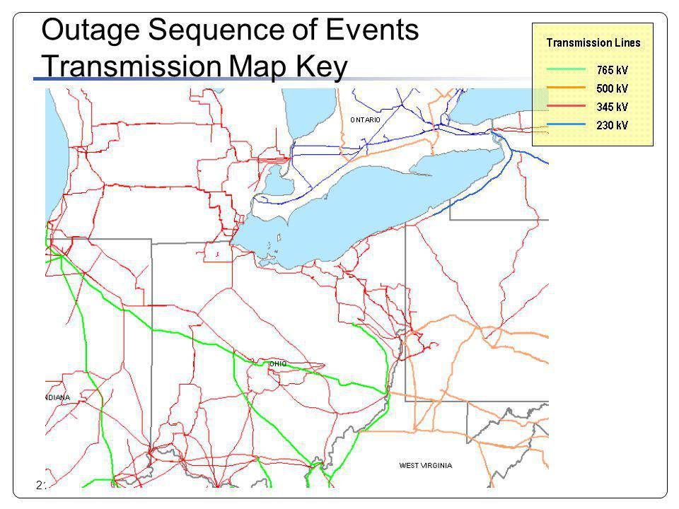 21 Outage Sequence of Events Transmission Map Key