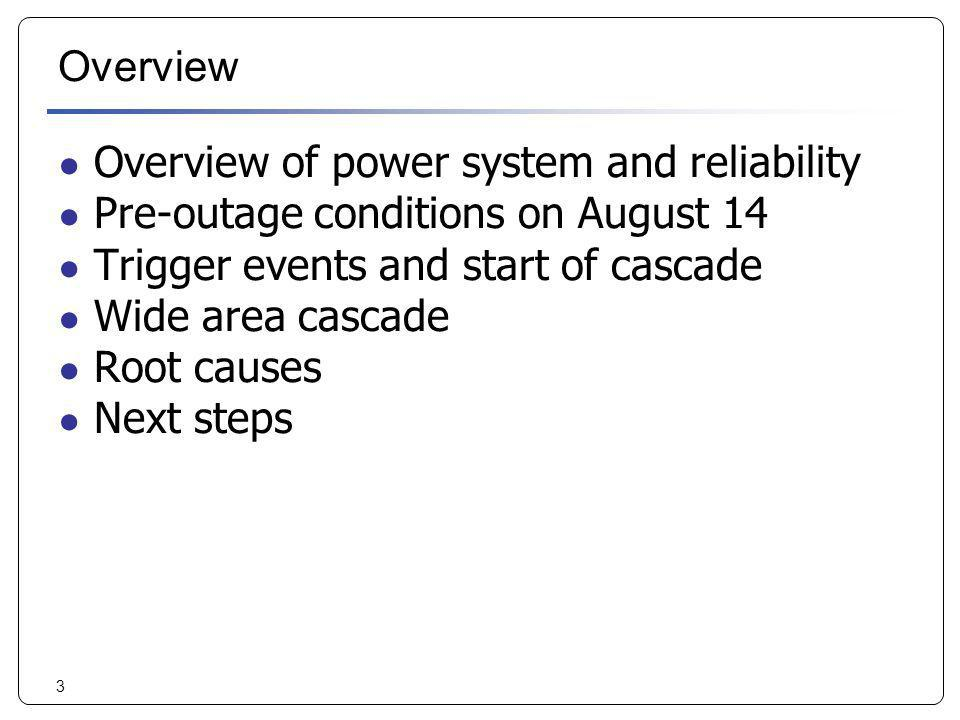 3 Overview Overview of power system and reliability Pre-outage conditions on August 14 Trigger events and start of cascade Wide area cascade Root caus