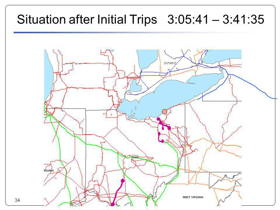 34 Situation after Initial Trips 3:05:41 – 3:41:35 ONTARIO