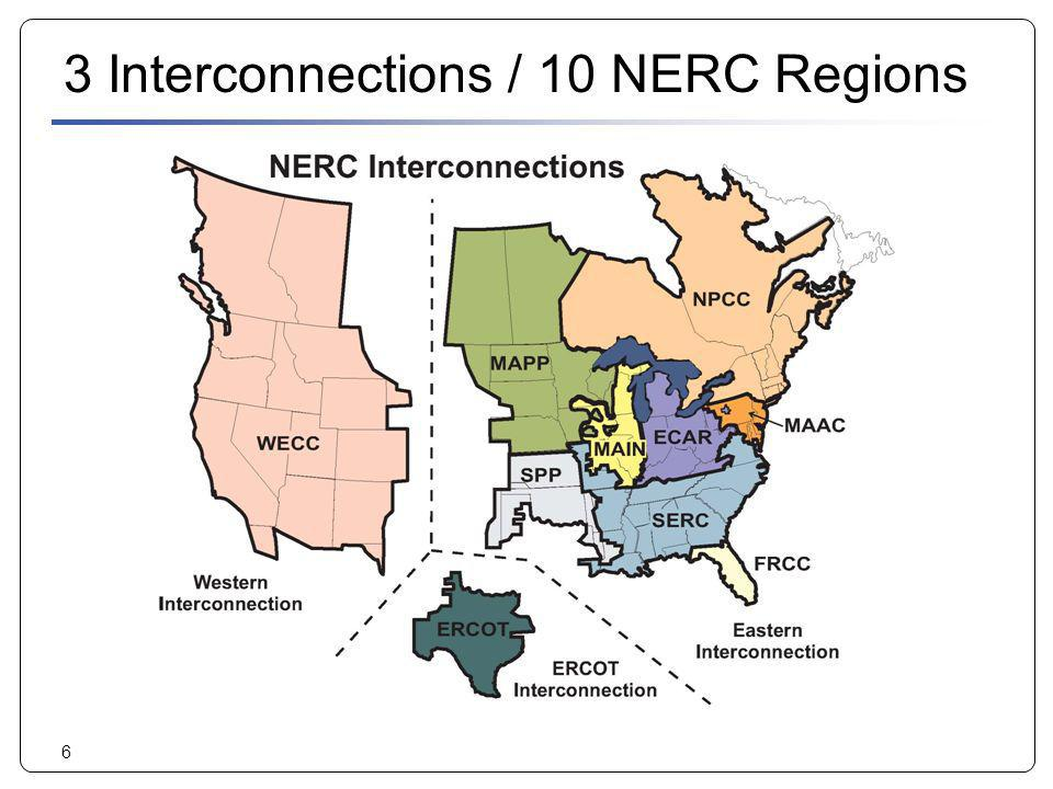 6 3 Interconnections / 10 NERC Regions