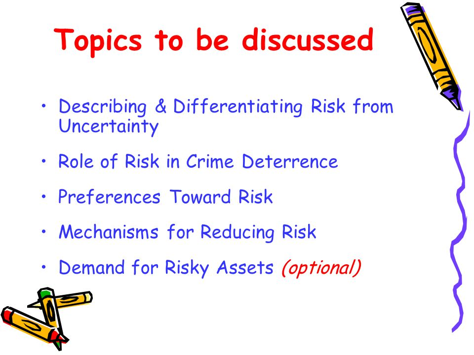 Describing & Interpreting Risk To measure risk one must know: 1) All of the possible outcomes.