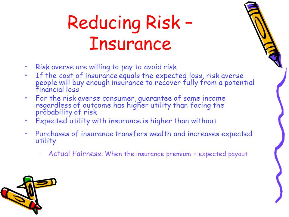 Reducing Risk – Insurance Risk averse are willing to pay to avoid risk If the cost of insurance equals the expected loss, risk averse people will buy