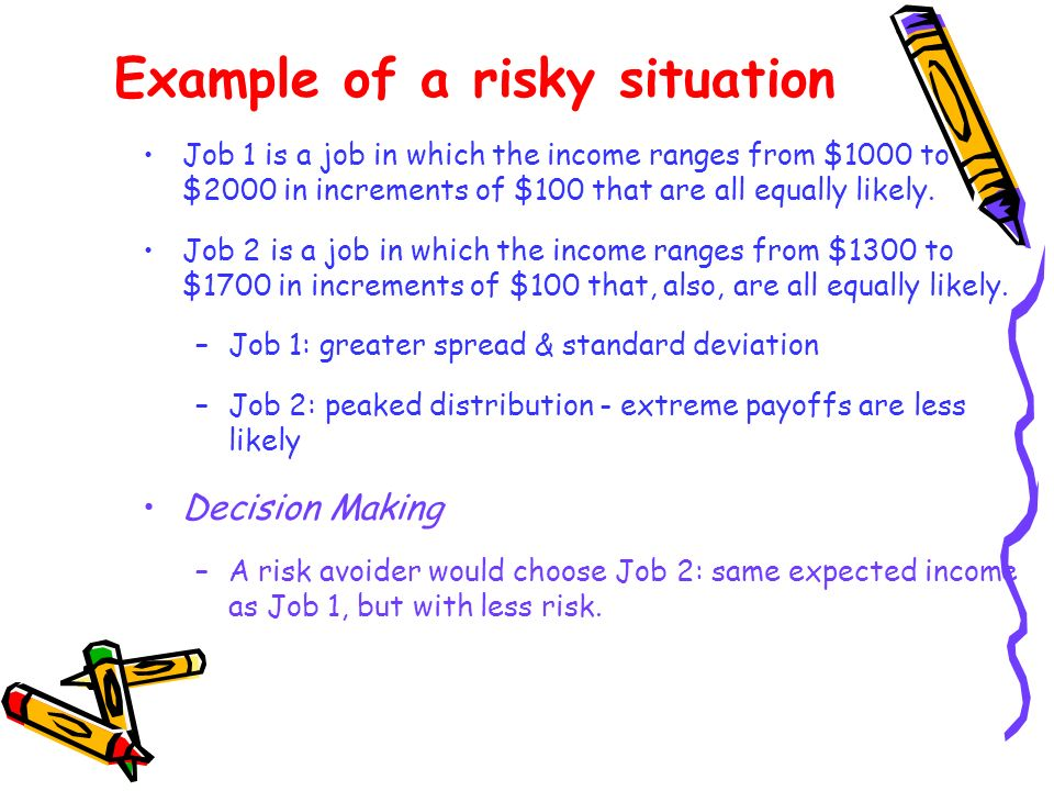 Indifference curves of risk- neutral & risk-loving people Risk-neutrality means horizontal indifference curve showing zero premium the consumer is willing to pay to buy hedge against risk (i.e., he doesnt mind bearing more risk) Risk-lover willing to pay (i.e., make sacrifice in terms expected income) to enjoy the thrill of greater risk-bearing – thus making indifference curves usual downward sloping