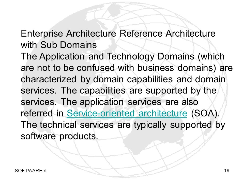SOFTWARE-rt19 Enterprise Architecture Reference Architecture with Sub Domains The Application and Technology Domains (which are not to be confused wit
