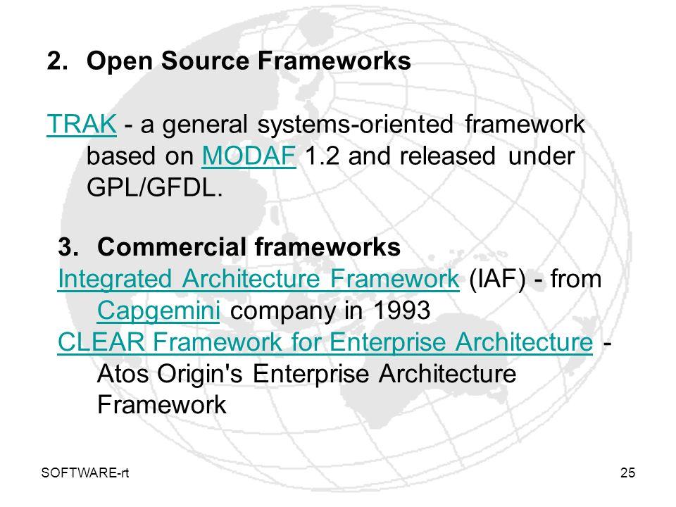 SOFTWARE-rt25 2.Open Source Frameworks TRAKTRAK - a general systems-oriented framework based on MODAF 1.2 and released under GPL/GFDL.MODAF 3.Commerci