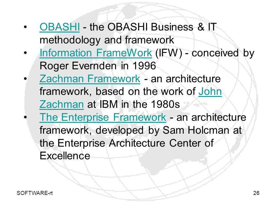 SOFTWARE-rt26 OBASHI - the OBASHI Business & IT methodology and frameworkOBASHI Information FrameWork (IFW) - conceived by Roger Evernden in 1996Infor