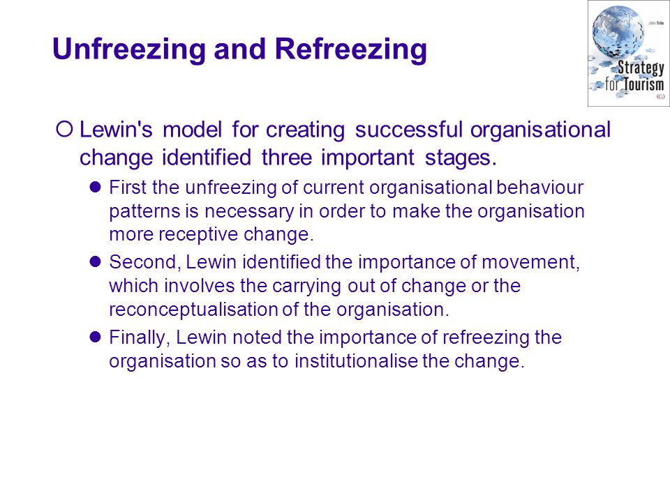 Unfreezing and Refreezing Lewin s model for creating successful organisational change identified three important stages.