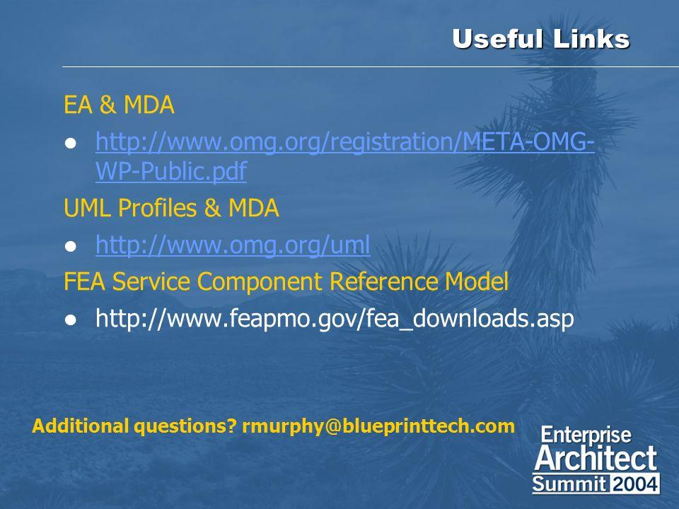 Useful Links EA & MDA http://www.omg.org/registration/META-OMG- WP-Public.pdf http://www.omg.org/registration/META-OMG- WP-Public.pdf UML Profiles & M