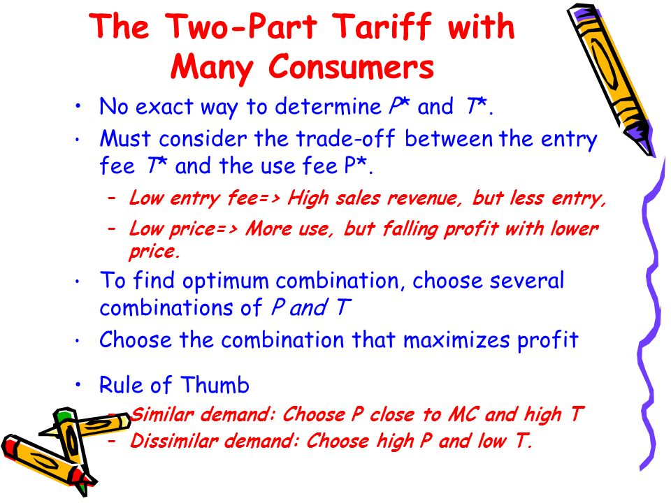 Two-Part Tariff with Many Different Consumers (choosing T) T Profit :entry fee :sales T* Total profit is the sum of the profit from the entry fee and the profit from sales.
