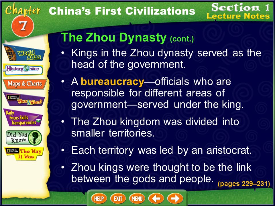 The Zhou Dynasty Wu Wang and his followers rebelled against the Shang dynasty and created the Zhou dynasty. (pages 229–231) The Zhou dynasty ruled lon