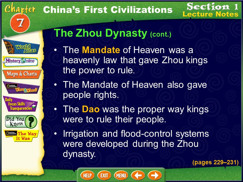 The Zhou Dynasty (cont.) A bureaucracyofficials who are responsible for different areas of governmentserved under the king. The Zhou kingdom was divid