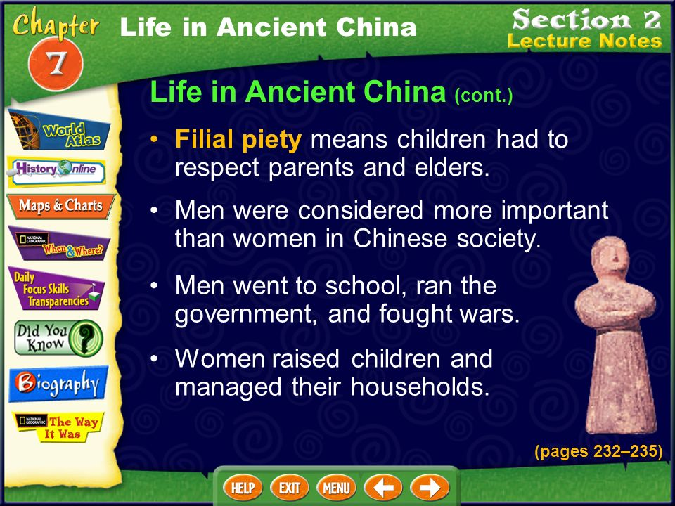 Life in Ancient China (cont.) Farmers paid aristocrats with part of their crops. Merchants were in the lowest class. Most Chinese people were farmers.
