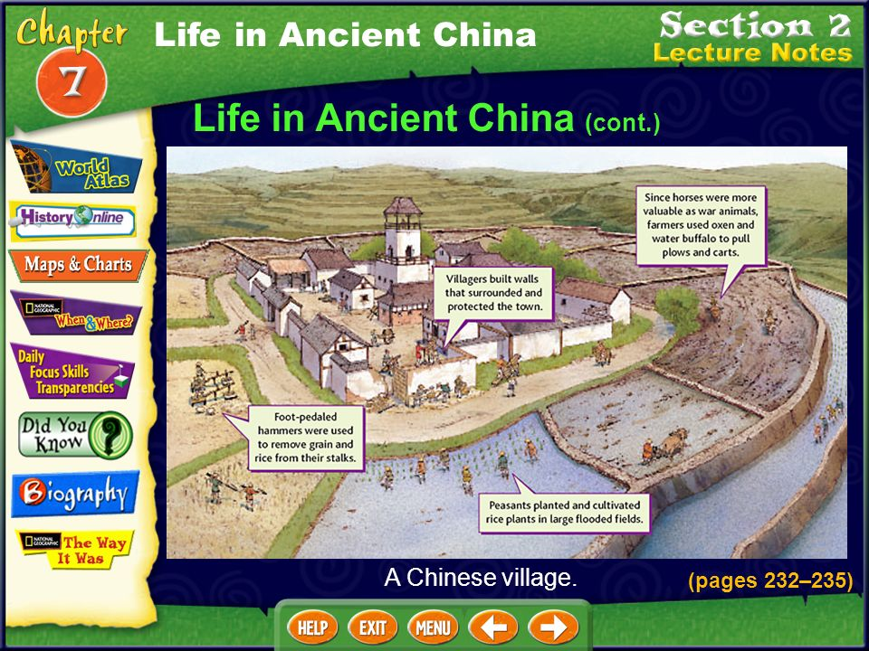 Life in Ancient China (cont.) Men were considered more important than women in Chinese society. Men went to school, ran the government, and fought war