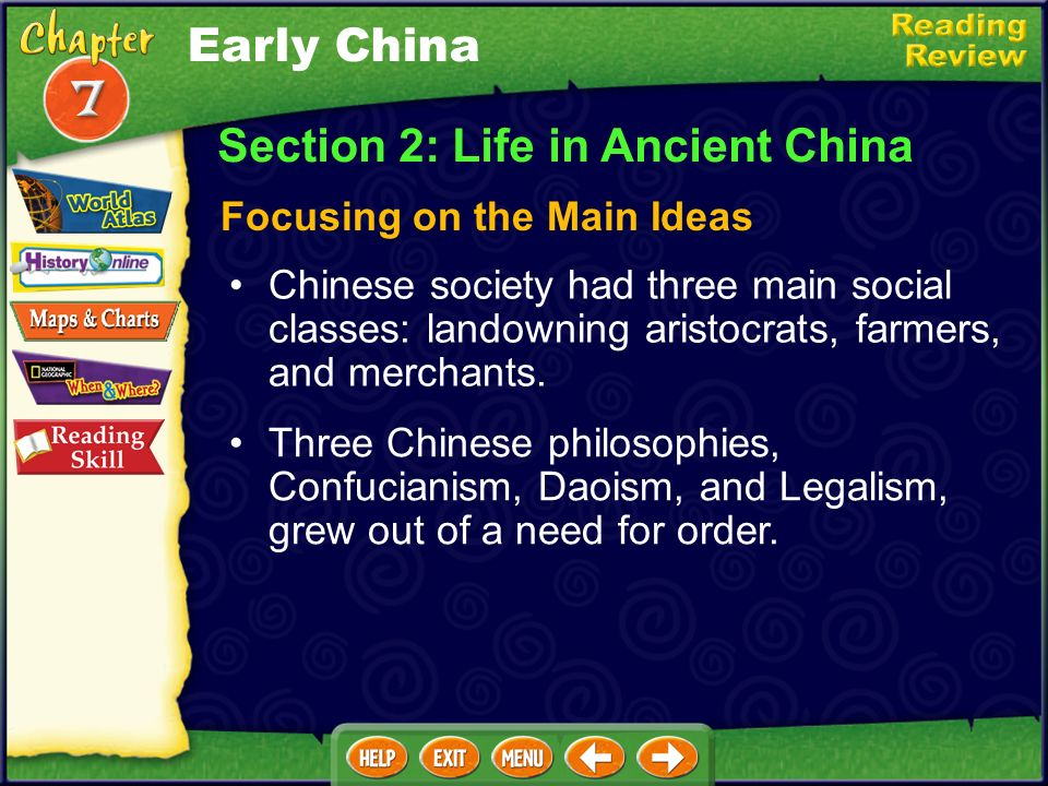 Section 1: Chinas First Civilizations Focusing on the Main Ideas Early China Rivers, mountains, and deserts helped shape Chinas civilization. Rulers k