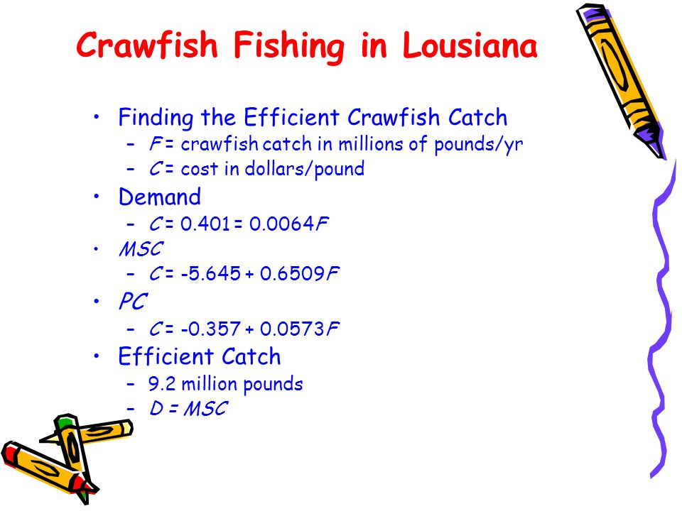 Crawfish Fishing in Lousiana Finding the Efficient Crawfish Catch –F = crawfish catch in millions of pounds/yr –C = cost in dollars/pound Demand –C =