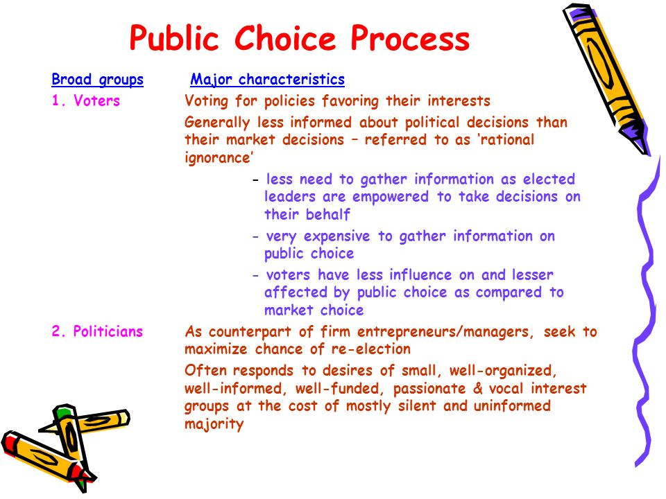 Public Choice Process Broad groups Major characteristics 1. VotersVoting for policies favoring their interests Generally less informed about political