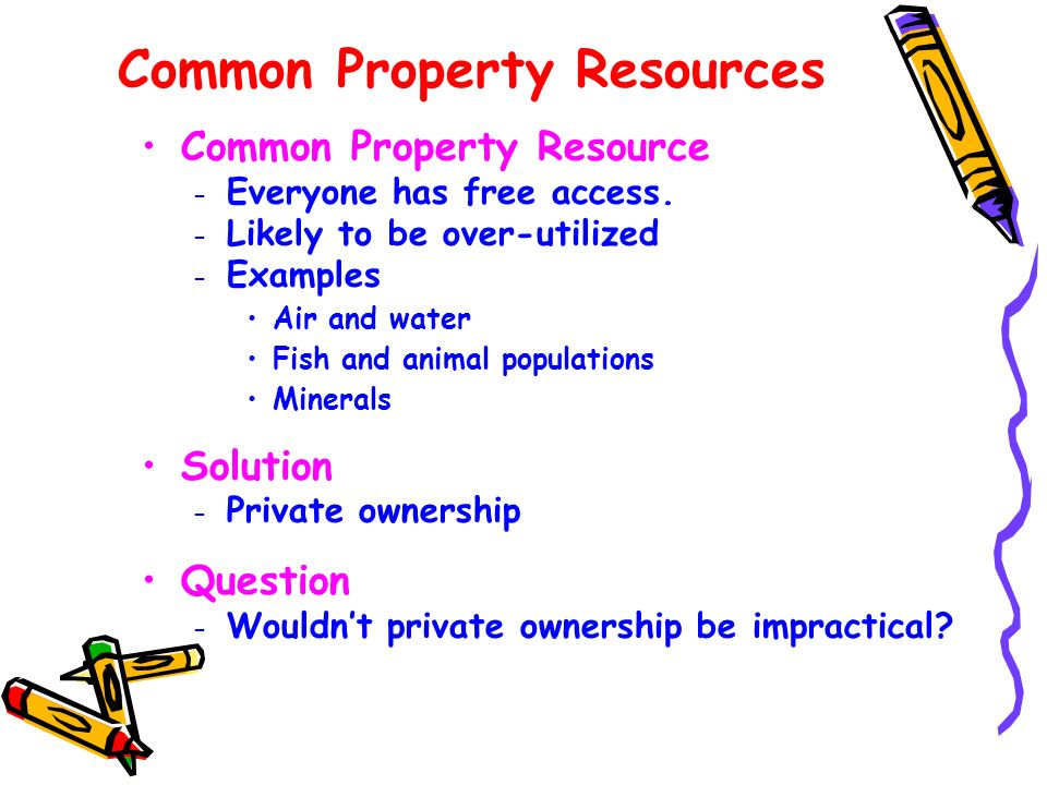 Common Property Resources Common Property Resource – Everyone has free access. – Likely to be over-utilized – Examples Air and water Fish and animal p