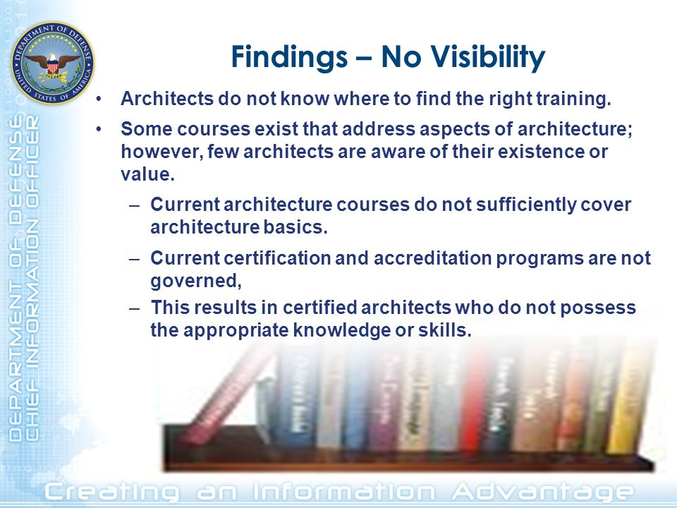 Findings – No Visibility Architects do not know where to find the right training. Some courses exist that address aspects of architecture; however, fe
