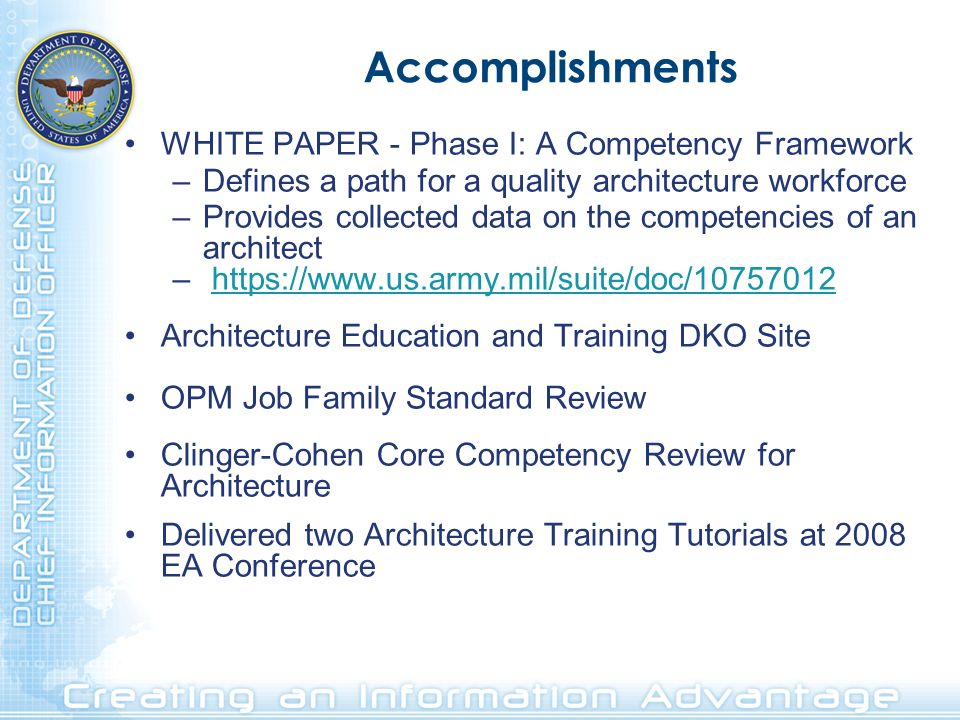 Accomplishments WHITE PAPER - Phase I: A Competency Framework –Defines a path for a quality architecture workforce –Provides collected data on the com