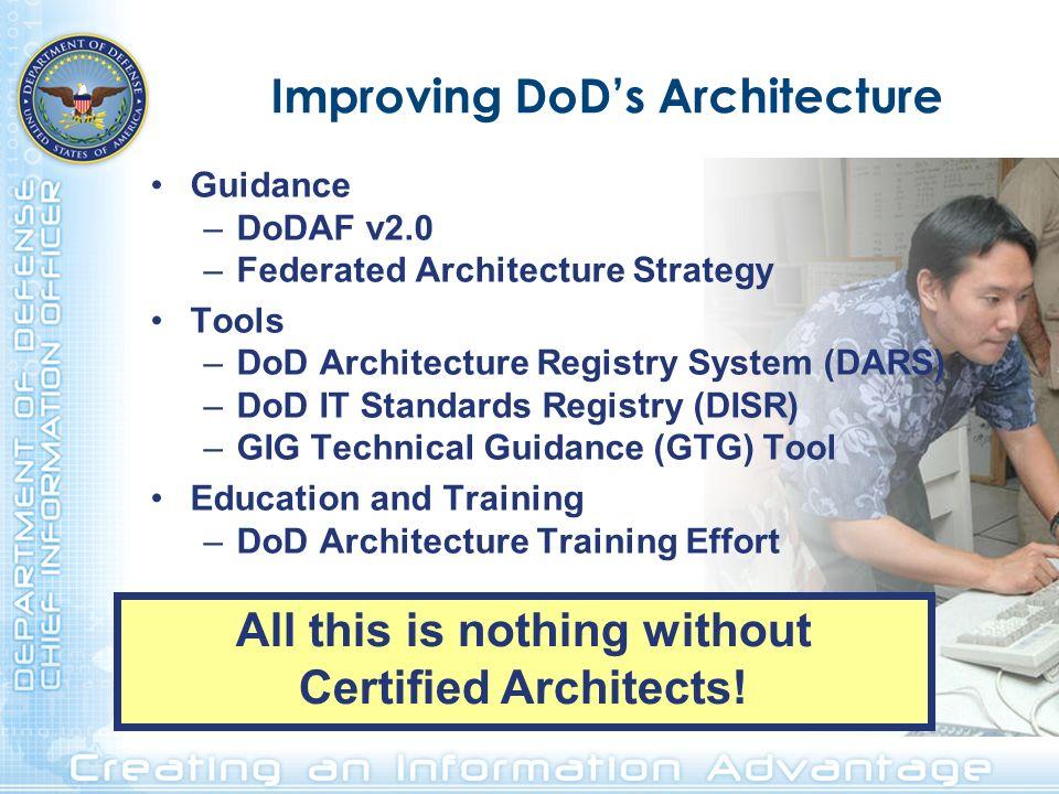 Improving DoDs Architecture Guidance –DoDAF v2.0 –Federated Architecture Strategy Tools –DoD Architecture Registry System (DARS) –DoD IT Standards Reg