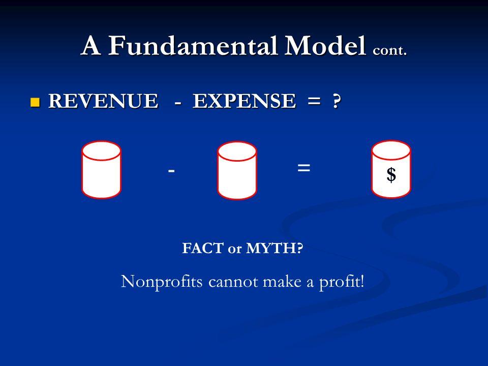 A Fundamental Model cont. REVENUE - EXPENSE = ? REVENUE - EXPENSE = ? FACT or MYTH? Nonprofits cannot make a profit! - = $