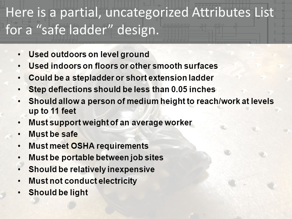 Here is a partial, uncategorized Attributes List for a safe ladder design.