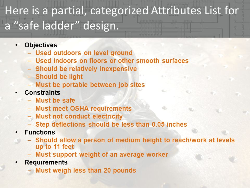 Here is a partial, categorized Attributes List for a safe ladder design.