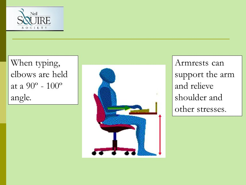 When typing, elbows are held at a 90º - 100º angle. Armrests can support the arm and relieve shoulder and other stresses.