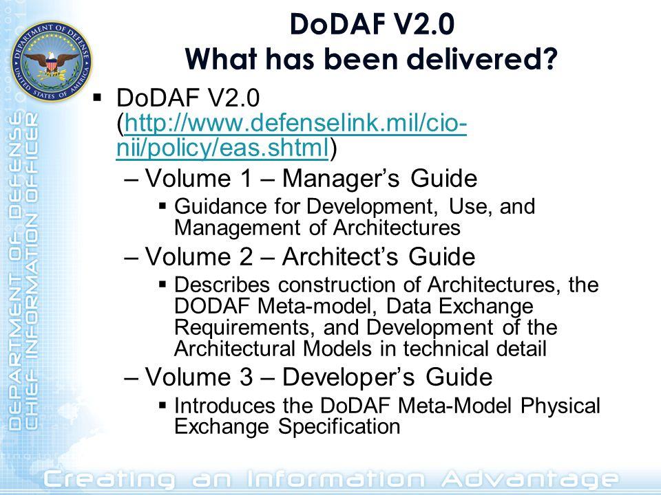 DoDAF V2.0 What has been delivered? DoDAF V2.0 (http://www.defenselink.mil/cio- nii/policy/eas.shtml)http://www.defenselink.mil/cio- nii/policy/eas.sh