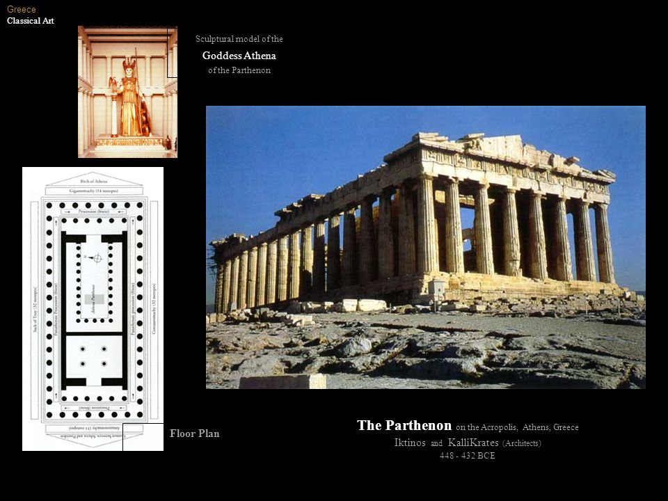 The Parthenon on the Acropolis, Athens, Greece Iktinos and KalliKrates (Architects) 448 - 432 BCE Greece Classical Art Floor Plan Sculptural model of