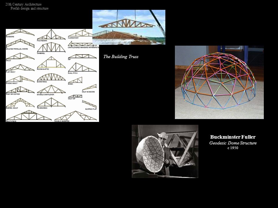 Buckminster Fuller Geodesic Dome Structure c 1950 The Building Truss 20th Century Architecture Prefab design and structure