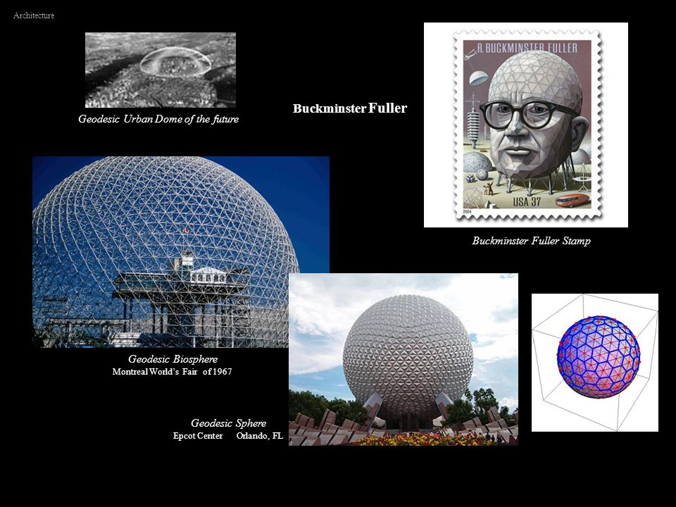 Geodesic Biosphere Montreal Worlds Fair of 1967 Buckminster Fuller Architecture Buckminster Fuller Stamp Geodesic Urban Dome of the future Geodesic Sp