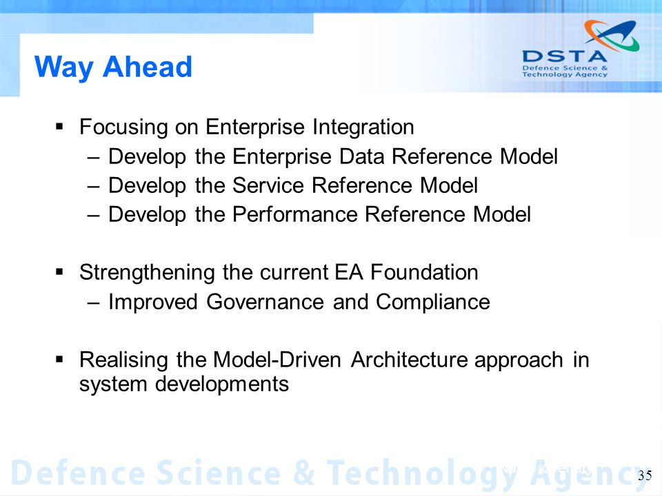 Name of entity 35 Way Ahead Focusing on Enterprise Integration –Develop the Enterprise Data Reference Model –Develop the Service Reference Model –Develop the Performance Reference Model Strengthening the current EA Foundation –Improved Governance and Compliance Realising the Model-Driven Architecture approach in system developments