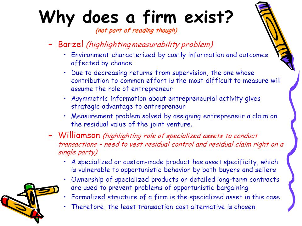 Why does a firm exist? (not part of reading though) –Barzel (highlighting measurability problem) Environment characterized by costly information and o