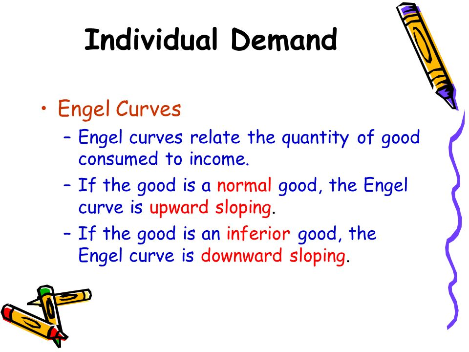 Individual Demand Engel Curves –Engel curves relate the quantity of good consumed to income. –If the good is a normal good, the Engel curve is upward