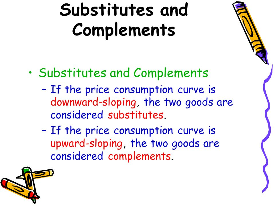 Substitutes and Complements –If the price consumption curve is downward-sloping, the two goods are considered substitutes. –If the price consumption c