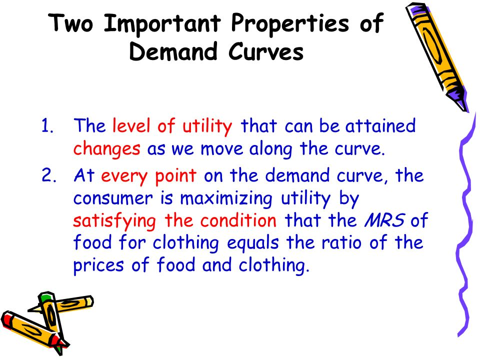 Two Important Properties of Demand Curves 1.The level of utility that can be attained changes as we move along the curve. 2.At every point on the dema