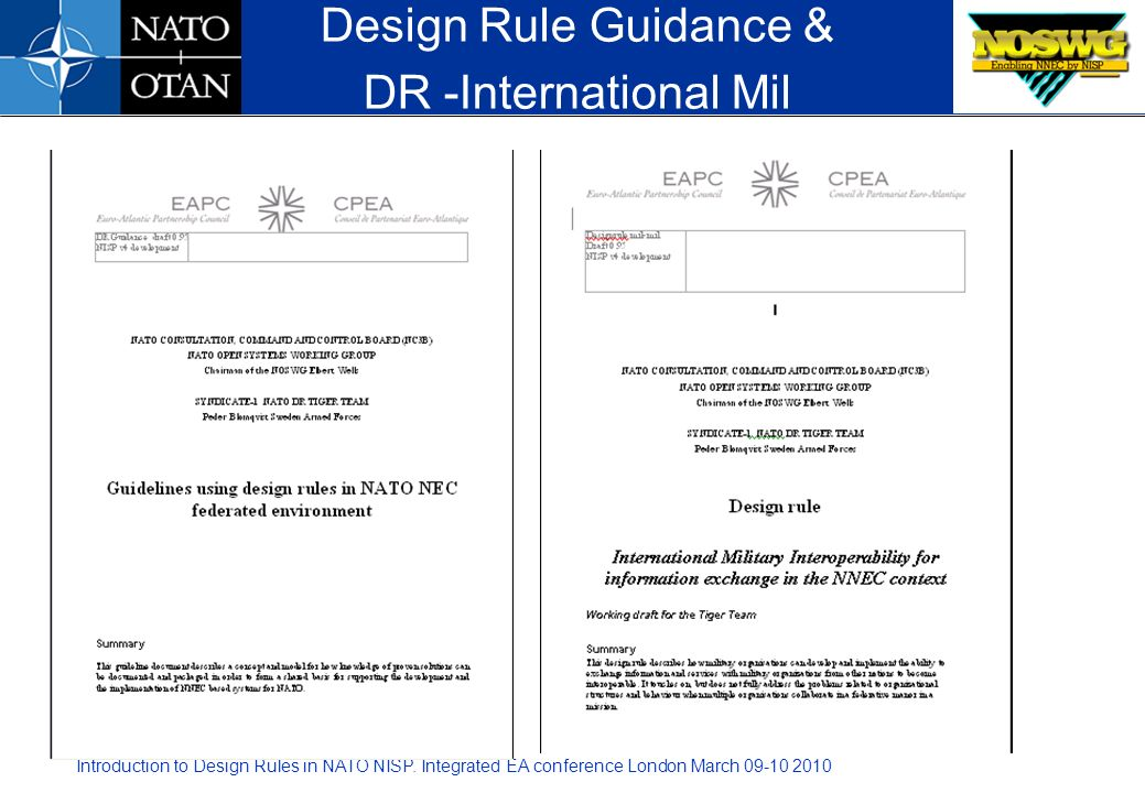 Introduction to Design Rules in NATO NISP. Integrated EA conference London March 09-10 2010 Design Rule Guidance & DR -International Mil