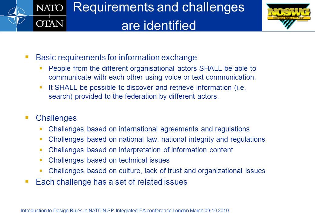 Introduction to Design Rules in NATO NISP. Integrated EA conference London March 09-10 2010 Basic requirements for information exchange People from th