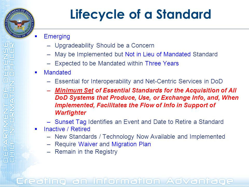 Lifecycle of a Standard Emerging –Upgradeability Should be a Concern –May be Implemented but Not in Lieu of Mandated Standard –Expected to be Mandated