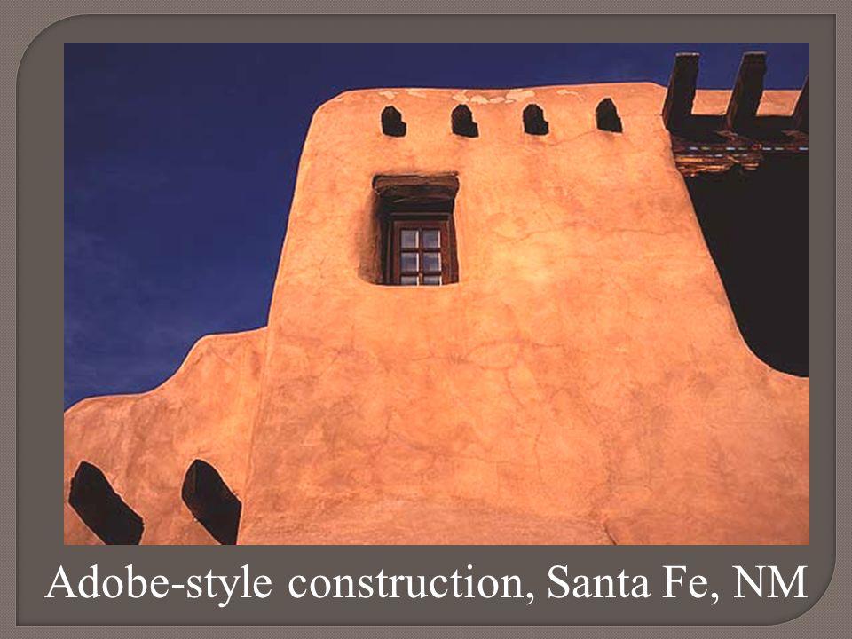 Adobe-style construction, Santa Fe, NM