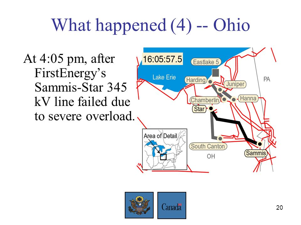 20 What happened (4) -- Ohio At 4:05 pm, after FirstEnergys Sammis-Star 345 kV line failed due to severe overload.