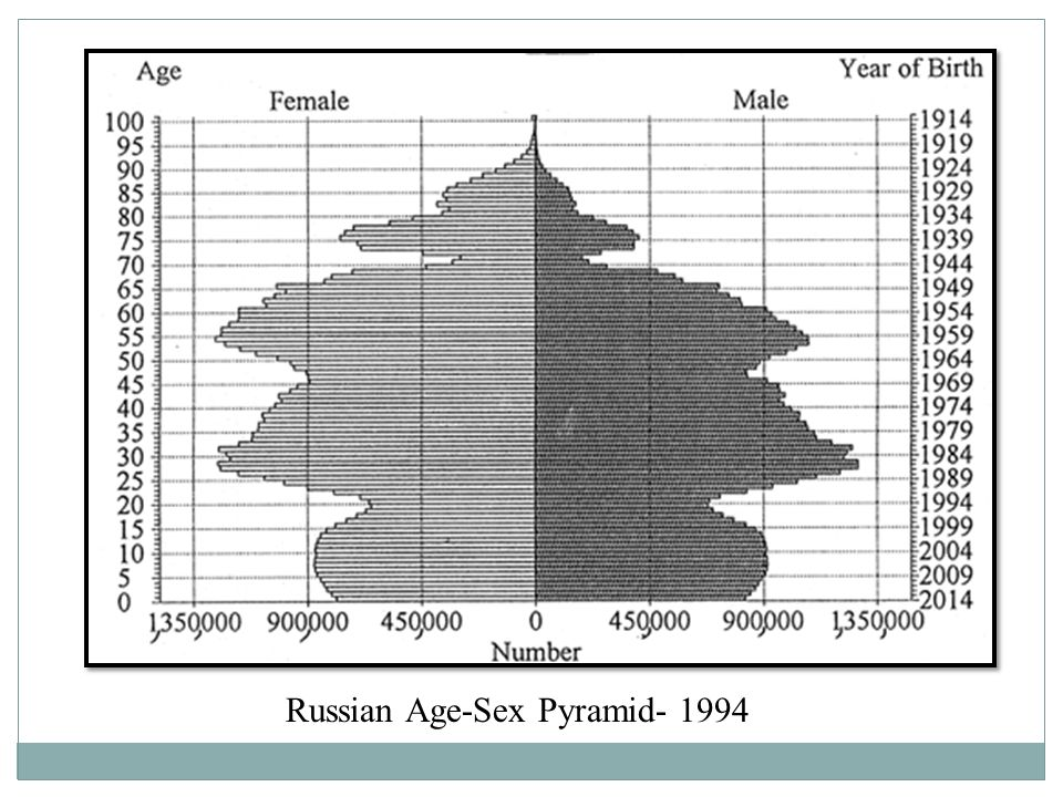 Russian Age-Sex Pyramid- 1994