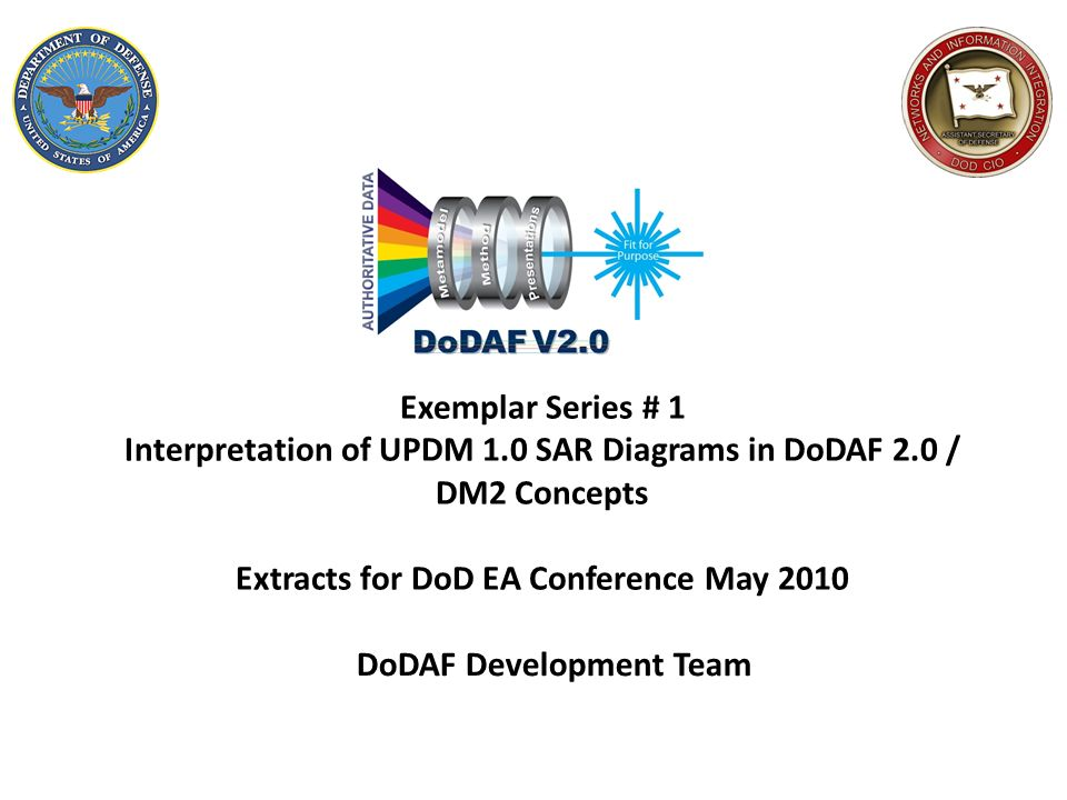 Exemplar Series # 1 Interpretation of UPDM 1.0 SAR Diagrams in DoDAF 2.0 / DM2 Concepts Extracts for DoD EA Conference May 2010 DoDAF Development Team