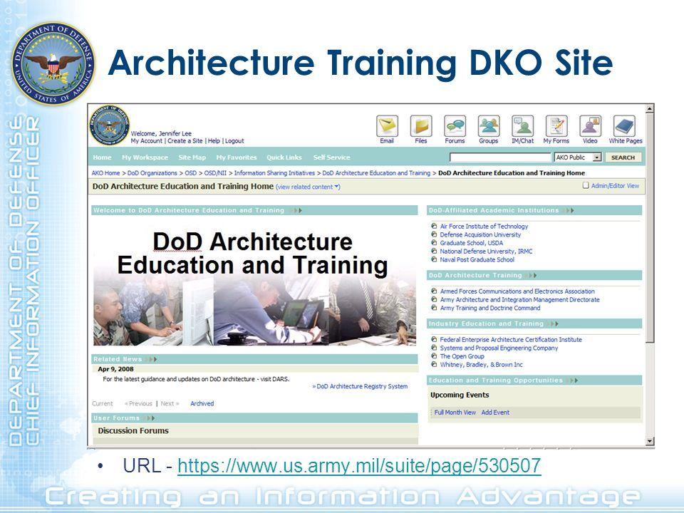 Architecture Training DKO Site URL - https://www.us.army.mil/suite/page/530507https://www.us.army.mil/suite/page/530507