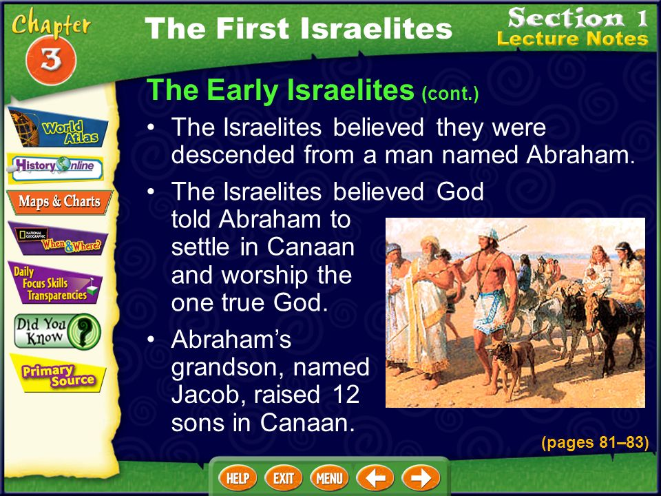 The Early Israelites (cont.) The Israelite faith became the religion of Judaism. Israelites spoke Hebrew and wrote their history and beliefs in what l