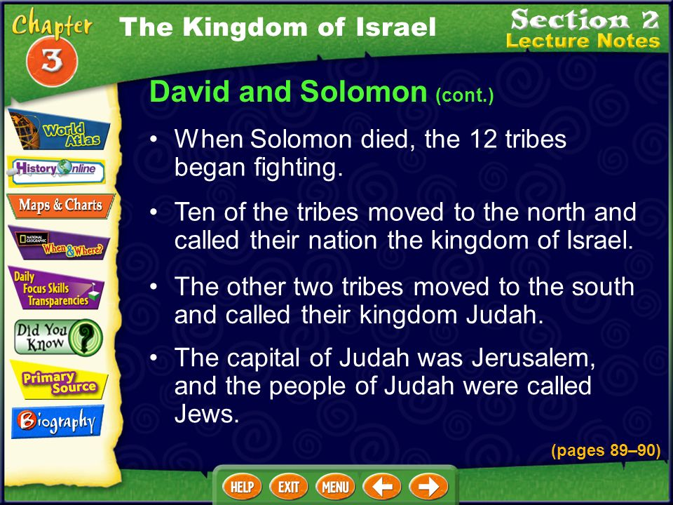 David and Solomon (cont.) Solomon was Davids son who took the throne after Davids death. Solomon built the stone temple in Jerusalem that David wanted