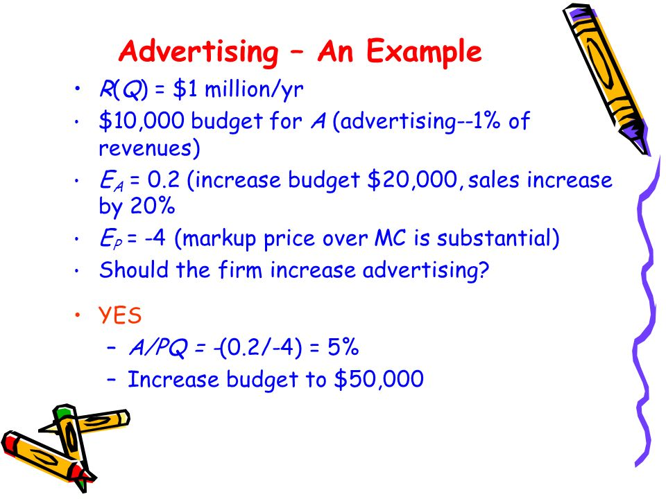 Advertising – An Example R(Q) = $1 million/yr $10,000 budget for A (advertising--1% of revenues) E A = 0.2 (increase budget $20,000, sales increase by 20% E P = -4 (markup price over MC is substantial) Should the firm increase advertising.
